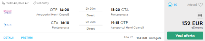 bilete avion ieftine catania