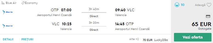 bilete avion valencia bucuresti